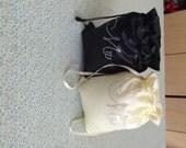 Black and Ivory  Mr & Mrs Rhinestone Bags Money Bags