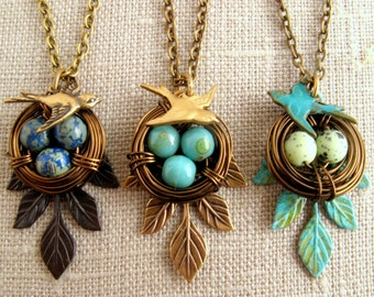 Nest necklace Bird necklace Grandma gift Mother of one two three four five 1 2 3 4 5 eggs antique brass Mothers day Turquoise Green patina