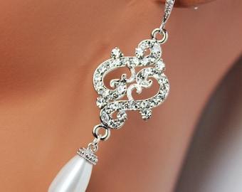 Vintage Style Wedding Earrings, Swarovski Crystals and Rhinestones Bridal Earrings, Bridal Accessories, Pearl Drop Chandelier Earrings