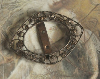 Vintage Art Deco Original Brass Cold Paint Enamel OPENWORK Buckle