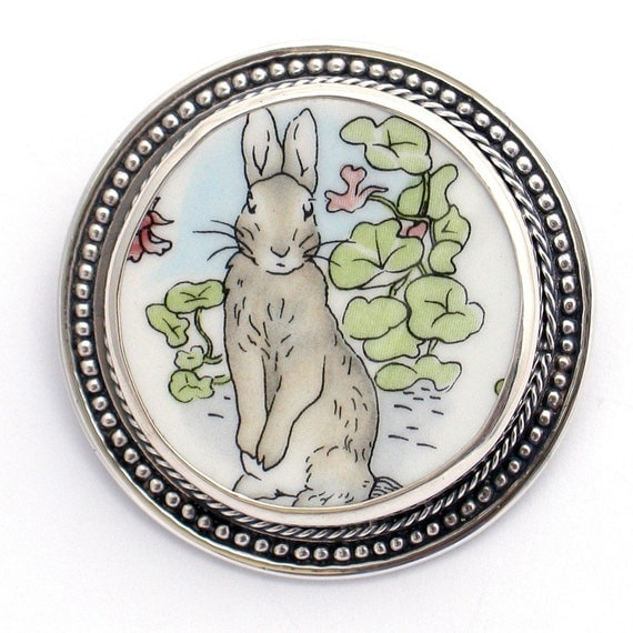 Broken China Jewelry Wedgwood Beatrix Potter Peter Rabbit Portrait Sterling Pin Brooch