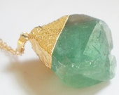 Green Fluorite Quartz Crystal Rough Cut Rock Necklace - FCN02