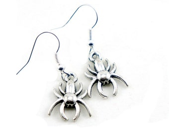 Antiqued Silver Vintage Style Spider Dangle Earrings - CP036