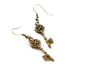 Antiqued Brass Tiny Skeleton Key Heart Shaped Dangle Earrings - KE01