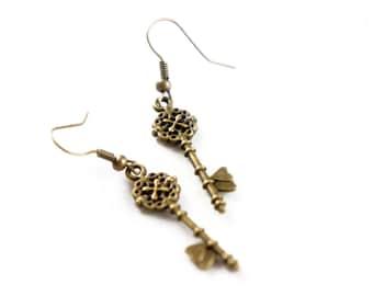 Antiqued Brass Tiny Skeleton Key Heart Shaped Dangle Earrings - KE01