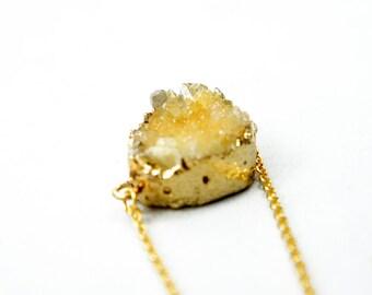 20% OFF Druzy Necklace - Lemon Yellow - Natural Agate Titanium Druzy Geode Quartz Crystal Rough Cut Rock Drop Nugget Necklace OOAK - SDN51