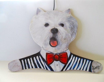 Stupell Home Clothing Hanger Westie Wearing Striped Vest