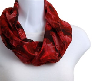 Blood Red Scarf Red Foil SPARKLE Sheer - metallic look - Infinity Scarf ~ SH208-S5