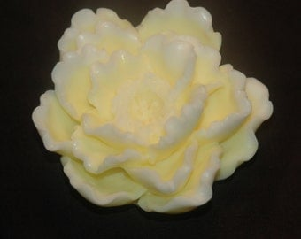 Peony Soap ~ Yellow Peony Soap Scented with Calypso Sun Fragrance ~ Decorative Gift Soap ~ Goat's Milk Soap