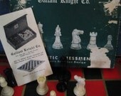 1940's Gallant Knight Co. Staunton Chess Set No. 35B and Wood Checkers.  Y-178