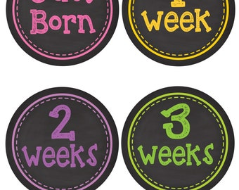 Monthly Baby Milestone Stickers Baby Girl Baby Shower Gift One-Piece Baby Stickers Monthly Baby Stickers Baby Month Stickers g12