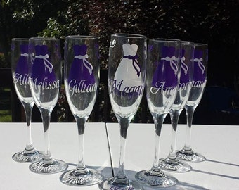 Bridesmaid Champagne Glasses,  Personalized Dress Flutes for Bridesmaids- Pick Your Colors