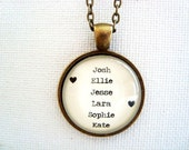 CUSTOM glass mother pendant necklace with children names, custom mother or grandmother jewelry