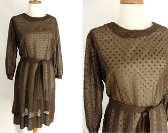 TEMPORARILY REDUCED was 48.88 vintage 60s Sheer Brown Flocked Polka Dotted Swiss Day Dress L 14