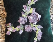 Dark Green Velvet Dream Pillow with Mauve Hand dyed Silk Ribbon Embroidered Flowers