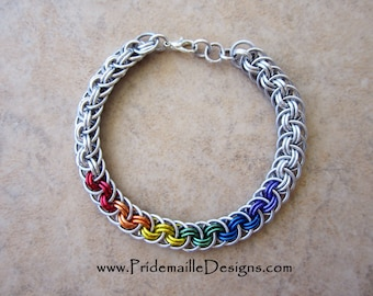 Rainbow LGBT Pride Viper Basket Bracelet - Anodized Aluminum Chainmaille Jewelry