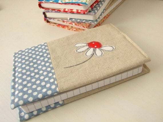 Removable Fabric Book Cover ~ A embroidered fabric notebook with removable cover