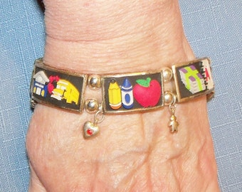 Stretch Bracelet Alphabet Rainbow Multicolored Enameled Links Vintage Jewelry Jewellery Teacher Gift Guide Women