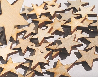 """25 Ct 2"""" Wood Stars - Unfinished - for Charms, Crafts, Pendants, DIY Projects SH-309-2"""