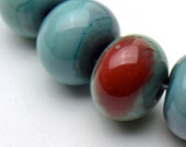 Lampwork Beads Turquoise Copper Green Set of 19