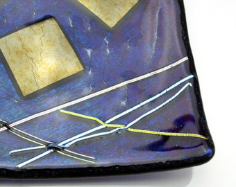 Dark Blue Iridescent Fused Glass Plate with Stringers and Gold Squares