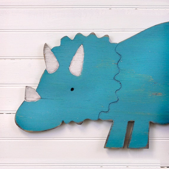 Triceratops dinosaur nursery dino sign decor kids bathroom for Kids dinosaur room decor