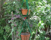 Green Red 49 1/2 Inch No Beads Double Macrame Plant Hanger