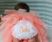 Personalized  Bloomer Diaper Cover Embroidered Mural Font Bloomer Diaper Cover Baby Shower Gift