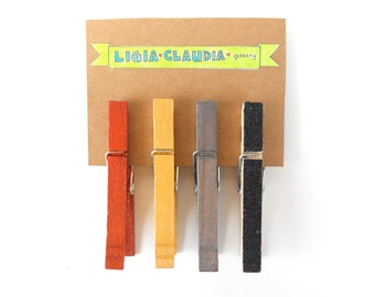 Metallic Multi Shade Clothespins Set of Four