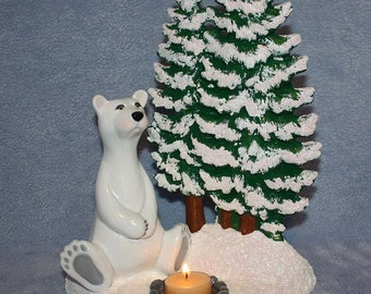 Hand Painted Ceramic Tea Light Candle Holder with a White Polar Bear next to a Snow Covered Christmas Tree