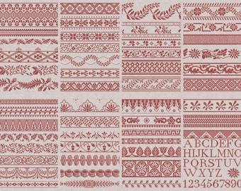 50 French & English Border Designs - Instant Download PDF Embroidery Cross-Stitch Pattern