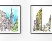 Set of 2 prints. Archival prints of original watercolor sketches