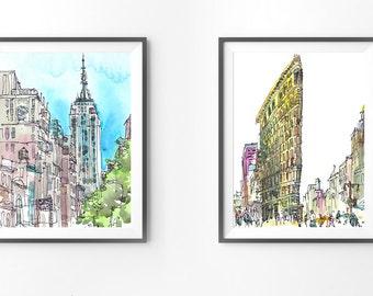 Set of 2 prints. Archival prints of original watercolor sketches