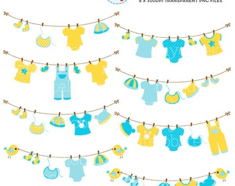 Baby Clothes Laundry Line Clipart Set - clip art set of yellow and blue laundry, baby - personal use, small commercial use, instant download