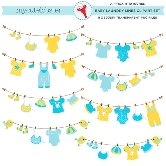 Baby clothes laundry line clipart set clip art of