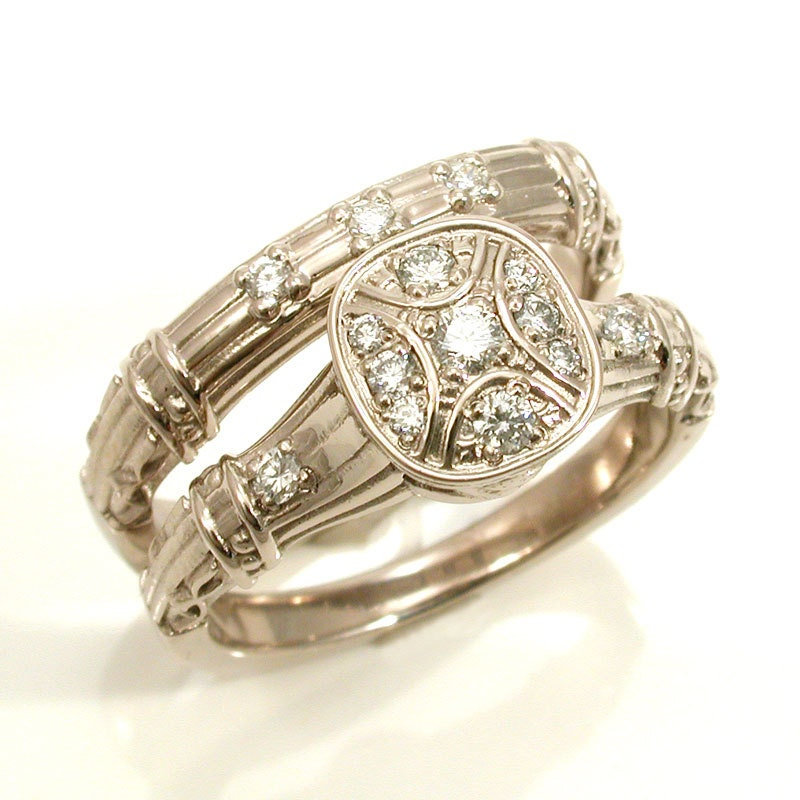 antique deco engagement wedding ring set by