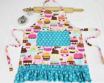 Ruffled Sweet Cupcakes Child Apron - pink with teal polka dot pocket and ruffle