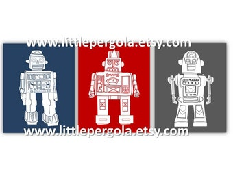 "Robot Art for Kids - Robot Wall Art - Art for Toddlers Room - Robot Decor - Navy Blue and Red Art - Robot Art - 3-8x10"" PRINTS ONLY"