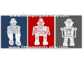 "Robot Art for Kids - Robot Wall Art - Art for Toddlers Room - Robot Decor - Navy Blue and Red Art - Robot Art - 3-8x10"" PRINTS ONLY"