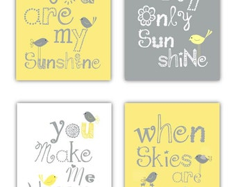 Baby Nursery Decor // You are my sunshine Art // Yellow and Gray Nursery Art Prints // Yellow Nursery Decor // Set of 4-8x10 PRINTS ONLY