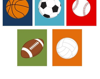 Boys Wall Art // Sports Art Kids  // Sports Nursery Wall Art // Sports Themed Art // Sport Balls Art // Ball Art // Choose Three 8x10 PRINTS