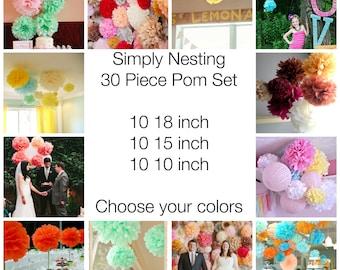 30 Tissue Paper Pom Poms, Wedding Decor, Nursery, Birthday Party, Party Decorations, Tissue Paper Flowers, Communion, Baby Shower, Reception
