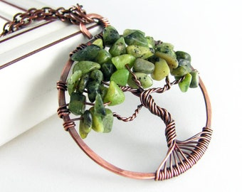 Tree Of Life Necklace Wire Wrapped Pendant Nephrite Jade Necklace Copper Jewelry Wire Wrapped Jewelry Tree Necklace