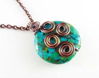 Wire Wrapped Necklace Rutilated Turquoise and Copper Wire Wrapped Jewelry Free Form Wire Wrap Copper Necklace Wire Wrapped Pendant