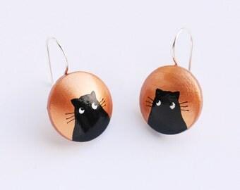 Copper earrings with black cat