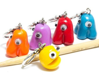 Knitting stitch markers video game heroes colorful set of five