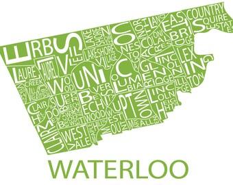 Typographic Map of Waterloo, Ontario