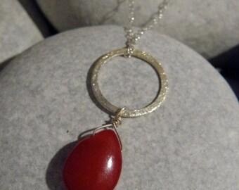 Red Jade teardop pendant neckleace with sterling