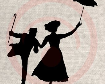 Clip Art Design Transfer Digital File Vintage Download DIY Scrapbook Shabby Chic Pillow Burlap Mary Poppins Silhouette Andrews  Art No. 0738