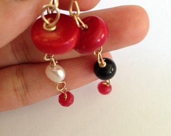 Coral, white pearl, Black onyx, Ruby Gold earrings, Lilyb444, Etsy jewelry,. Red lover